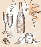 Glass of champagne and a festive mood. Set of vector sketches Royalty Free Stock Images