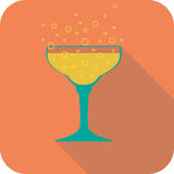 Glass champagne flat design stylized  party drink icon Royalty Free Stock Photography