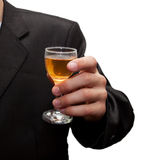 Glass of champagne in his hand Stock Photo
