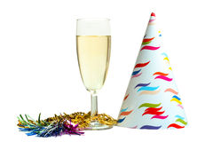 Glass of champagne and holiday items Stock Photos