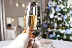 Glass of champagne making toast. Royalty Free Stock Image