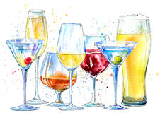 Glass of a champagne,martini, wine, beer, cognac. Picture of a alcoholic drink. Beverage border.Watercolor hand drawn illustration vector illustration