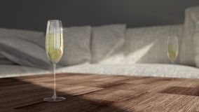 Glass with champagne - modern living room stock images