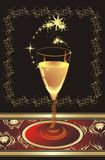Glass with champagne. Pattern of ornament for card Stock Photography