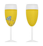 Glass of champagne with pink ring Royalty Free Stock Images