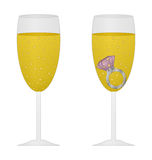 Glass of champagne with pink ring Royalty Free Stock Photo