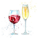 Glass of a champagne and red wine. Picture of a alcoholic drink.Watercolor hand drawn illustration Stock Photo