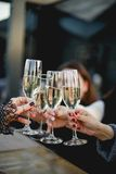 A glass of champagne. In a restaurant Royalty Free Stock Photos