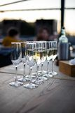 A glass of champagne. In a restaurant Royalty Free Stock Images