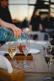 A glass of champagne. In a restaurant Stock Image