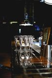 A glass of champagne. In a restaurant Royalty Free Stock Image