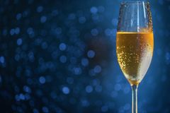 A glass of champagne on the right side of the frame on a blue blurred background.  Royalty Free Stock Photography