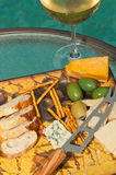 Glass of champagne with snacks royalty free stock photos