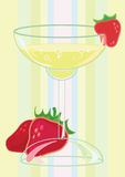 Glass of champagne with strawberries Royalty Free Stock Photography