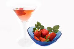 Glass With Champagne And Strawberries Royalty Free Stock Photo