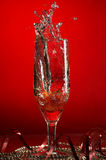 Glass with champagne and strawberries Royalty Free Stock Image