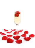 Glass of champagne with strawberry Royalty Free Stock Photos