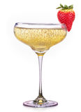 Glass of champagne with strawberry isolated on a white. Background Royalty Free Stock Photography