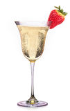 Glass of champagne with strawberry isolated on a white. Background Royalty Free Stock Photo