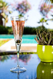 Glass of champagne. On the glass table in outdoor resort bar Royalty Free Stock Image