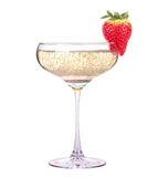 Glass of champagne with tasty strawberry Royalty Free Stock Photo