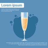 Glass of Champagne Wine Toast Flat. Vector Illustration Stock Image