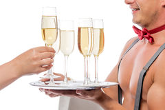 Glass of champagne for woman in Christmas Stock Image