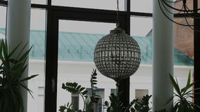 Glass chandelier in the room stock footage