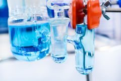 Glass chemical equipment, pipes and shut-off valves. Royalty Free Stock Images