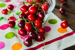 Glass of cherries Stock Images