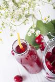 Glass with cherry compote.Cherry drink. Fresh cherry cocktail. F stock images