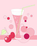 Glass with cherry juice Stock Images