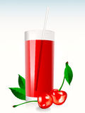 A glass of cherry juice. Eith leaves and berrys Royalty Free Stock Photos