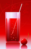 A glass of cherry juice on the abstract background Stock Photos
