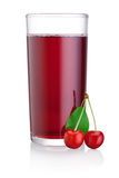 Glass of cherry juice with fruits isolated on white background Stock Photography