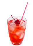 Glass of cherry soda with ice Royalty Free Stock Photo