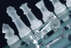 Glass chess. Photographed up close with the black background Royalty Free Stock Image