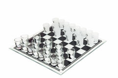 Glass chess. Glass black and white chess board and pieces Royalty Free Stock Image