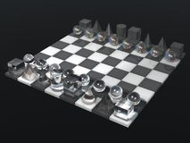 Glass chess board and chess set Stock Photos