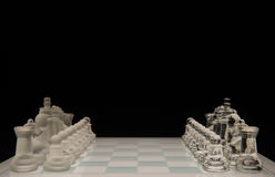 Glass chess board with pieces Stock Photos