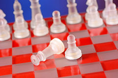 Glass chess on the chessboard. Blue background Stock Image