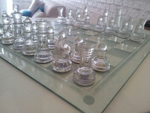 Glass chess. The chess from the glass for decorate in the living room Royalty Free Stock Photo