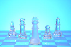 Glass chess figures Royalty Free Stock Images