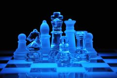 Glass chess figures Royalty Free Stock Photos