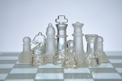 Glass chess figures Royalty Free Stock Photo
