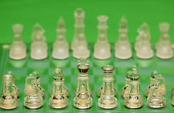 Glass chess figures against green background Stock Photography