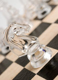 Glass chess horse Royalty Free Stock Photos