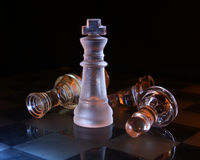 Glass chess king on black Stock Images