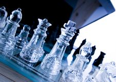 Glass chess & Laptop Stock Photo