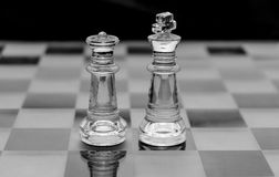 Glass chess pieces. On black and white Stock Images